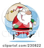Royalty Free RF Clipart Illustration Of An African Santa Clause Carrying A Sack Over A Snow Circle