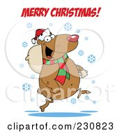 Royalty Free RF Clipart Illustration Of A Merry Christmas Greeting Over A Bear Running With A Bag by Hit Toon
