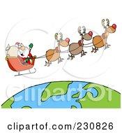 Royalty Free RF Clipart Illustration Of Santa Waving And Flying Above Earth