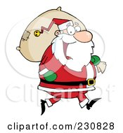 Royalty Free RF Clipart Illustration Of A Caucasian Santa Clause Carrying A Sack