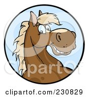 Royalty Free RF Clipart Illustration Of A Happy Horse Face Over A Blue Circle by Hit Toon #COLLC230829-0037
