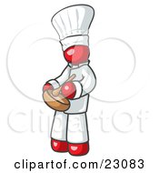 Clipart Illustration Of A Red Baker Chef Cook In Uniform And Chefs Hat Stirring Ingredients In A Bowl
