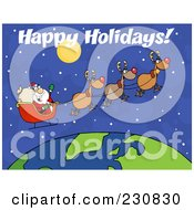 Royalty Free RF Clipart Illustration Of Happy Holidays Over Santa Waving And Flying Above Earth