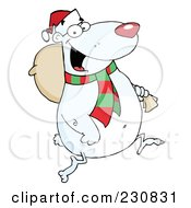 Royalty Free RF Clipart Illustration Of A Christmas Polar Bear Carrying A Sack by Hit Toon