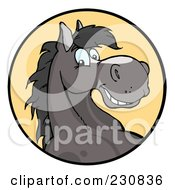Royalty Free RF Clipart Illustration Of A Happy Gray Horse Face Over A Yellow Circle