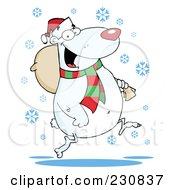 Royalty Free RF Clipart Illustration Of A Christmas Polar Bear Carrying A Bag by Hit Toon
