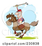 Royalty Free RF Clipart Illustration Of A White Polo Player Holding Up A Stick by Hit Toon