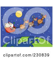 Royalty Free RF Clipart Illustration Of Santa Waving And Flying Over Earth