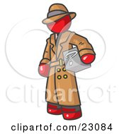 Clipart Illustration Of A Secretive Red Man In A Trench Coat And Hat Carrying A Box With A Question Mark On It