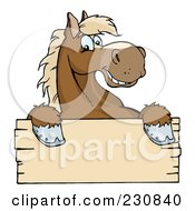 Royalty Free RF Clipart Illustration Of A Happy Brown Horse Looking Over A Blank Wood Sign by Hit Toon