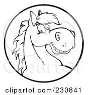 Royalty Free RF Clipart Illustration Of A Coloring Page Outline Of A Happy Horse Face In A Circle