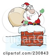 Royalty Free RF Clipart Illustration Of A Black Santa In A Chimney And Waving 1