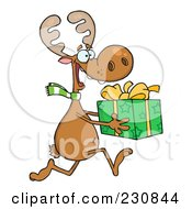 Royalty Free RF Clipart Illustration Of A Happy Christmas Reindeer Running With A Gift by Hit Toon