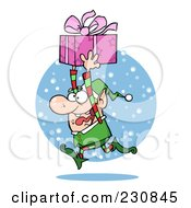 Royalty Free RF Clipart Illustration Of A Happy Christmas Elf Running In The Snow With A Gift