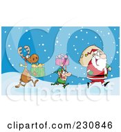 Royalty Free RF Clipart Illustration Of A Reindeer And Elf Carrying Christmas Presents In The Snow Behind Santa