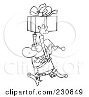 Royalty Free RF Clipart Illustration Of A Coloring Page Outline Of A Happy Christmas Elf Running With A Gift