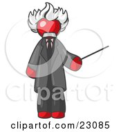 Clipart Illustration Of A Red Man Depicted As Albert Einstein Holding A Pointer Stick