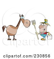 Royalty Free RF Clipart Illustration Of A Happy Black Farmer By A Horse by Hit Toon