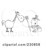 Royalty Free RF Clipart Illustration Of A Coloring Page Outline Of A Happy Farmer By A Horse by Hit Toon