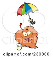 Royalty Free RF Clipart Illustration Of A Happy Autumn Leaf Holding An Umbrella