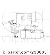 Royalty Free RF Clipart Illustration Of A Coloring Page Outline Of A Businessman Holding A Bat Over A Computer