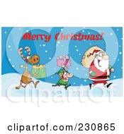 Royalty Free RF Clipart Illustration Of Merry Christmas Above A Reindeer And Elf Carrying Christmas Presents In The Snow Behind Santa by Hit Toon