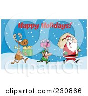 Royalty Free RF Clipart Illustration Of Happy Holidays Above A Reindeer And Elf Carrying Christmas Presents In The Snow Behind Santa by Hit Toon