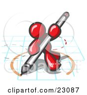 Clipart Illustration Of A Red Man Holding A Pencil And Drawing A Circle On A Blueprint