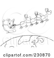Royalty Free RF Clipart Illustration Of A Coloring Page Outline Of Santa Waving And Flying Above Earth