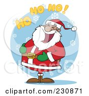 Royalty Free RF Clipart Illustration Of A Black Santa Laughing With Ho Ho Ho Text 2