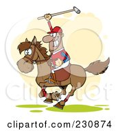 Royalty Free RF Clipart Illustration Of A Hispanic Polo Player Holding Up A Stick by Hit Toon