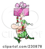 Royalty Free RF Clipart Illustration Of A Happy Christmas Elf Running With A Gift by Hit Toon