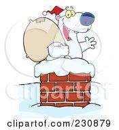 Royalty Free RF Clipart Illustration Of A Christmas Santa Polar Bear In A Chimney 1 by Hit Toon