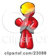 Clipart Illustration Of A Friendly Red Construction Worker Or Handyman Wearing A Hardhat And Tool Belt And Waving