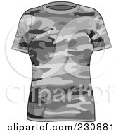 Royalty Free RF Clipart Illustration Of A Womans Gray Camo T Shirt