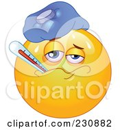 Royalty Free RF Clipart Illustration Of A Yellow Emoticon Sick With A Fever