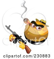 Royalty Free RF Clipart Illustration Of A Yellow Emoticon Gangster