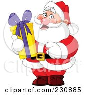 Royalty Free RF Clipart Illustration Of Santa Holding A Tall Christmas Gift by yayayoyo