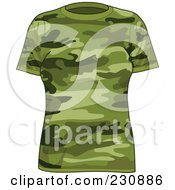 Royalty Free RF Clipart Illustration Of A Womans Green Camo T Shirt