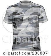 Royalty Free RF Clipart Illustration Of A Mans Gray Camo T Shirt by yayayoyo