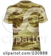 Royalty Free RF Clipart Illustration Of A Mans Brown Camo T Shirt
