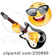 Royalty Free RF Clipart Illustration Of A Yellow Emoticon Rock Star