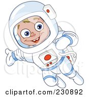 Royalty Free RF Clipart Illustration Of A Happy Astronaut Boy In A Space Suit
