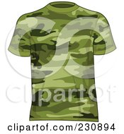 Royalty Free RF Clipart Illustration Of A Mans Green Camo T Shirt