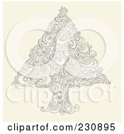 Royalty Free RF Clipart Illustration Of A Doodled Swirl Christmas Tree by yayayoyo