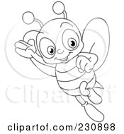 Royalty Free RF Clipart Illustration Of A Coloring Page Outline Of A Happy Bee by yayayoyo