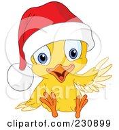 Royalty Free RF Clipart Illustration Of A Waving Christmas Chick Wearing A Santa Hat by yayayoyo