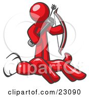 Clipart Illustration Of A Red Man A Hunter Holding A Bow And Arrow Over A Dead Buck Deer