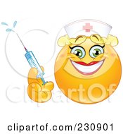 Royalty Free RF Clipart Illustration Of A Yellow Emoticon Nurse