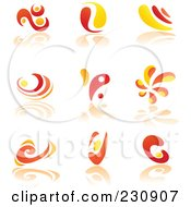 Royalty Free RF Clipart Illustration Of A Digital Collage Of Orange And Yellow Logo Icons by yayayoyo